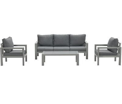 Garden Impressions Zion stoel bank loungeset 4 delig grijs aluminium