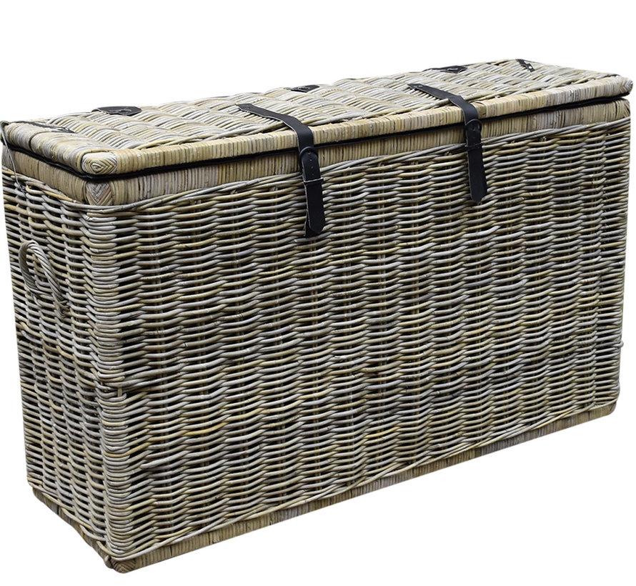 Kussenbox middel 151x51xH95 cm naturel rotan