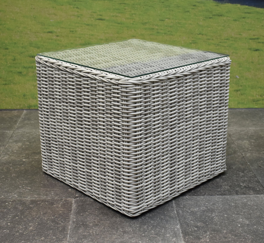 Toscane bijzettafel 50x50xH45 cm wit grijs