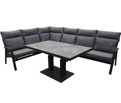 AVH-Collectie Pacific hoek dining loungeset 5 delig aluminium verstelbaar