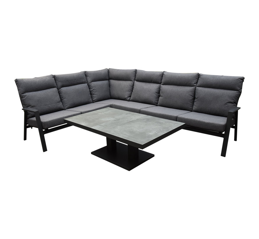 Pacific hoek dining loungeset 5 delig aluminium verstelbaar