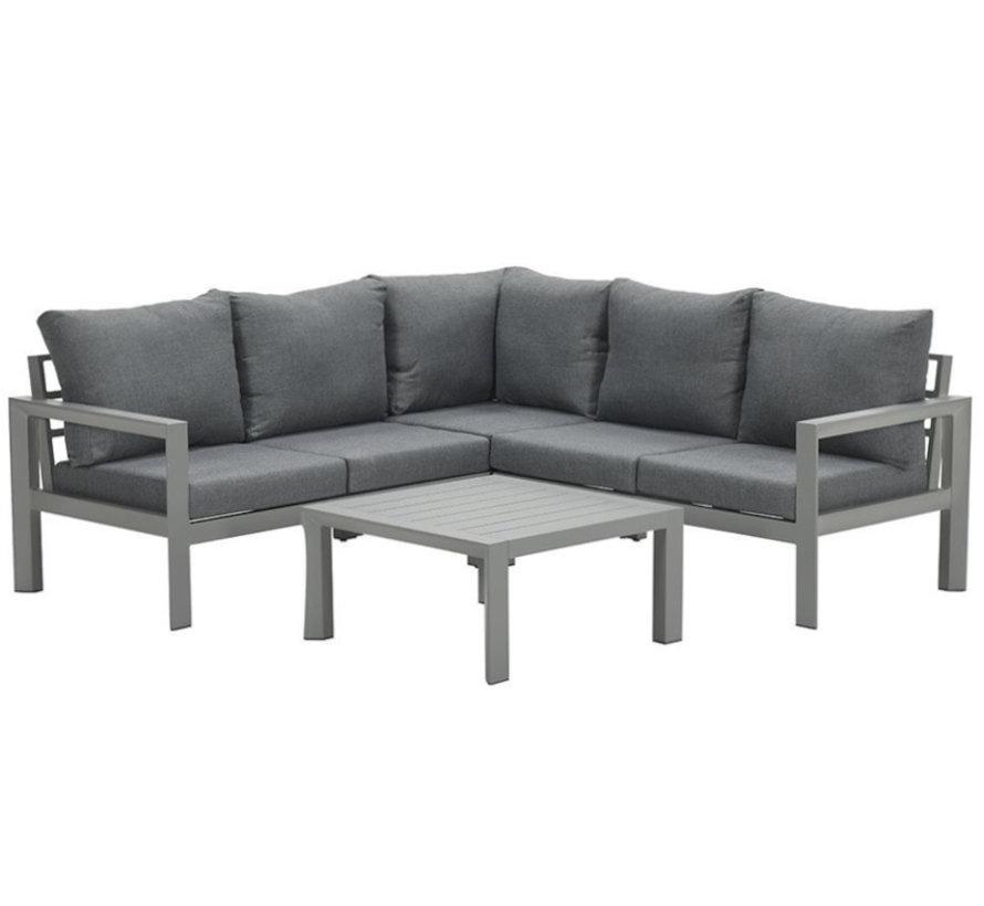 Zion hoek loungeset 4 delig aluminium grijs