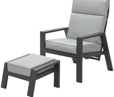 Garden Impressions Max lounge balkonset 2 delig verstelbaar aluminium carbon black