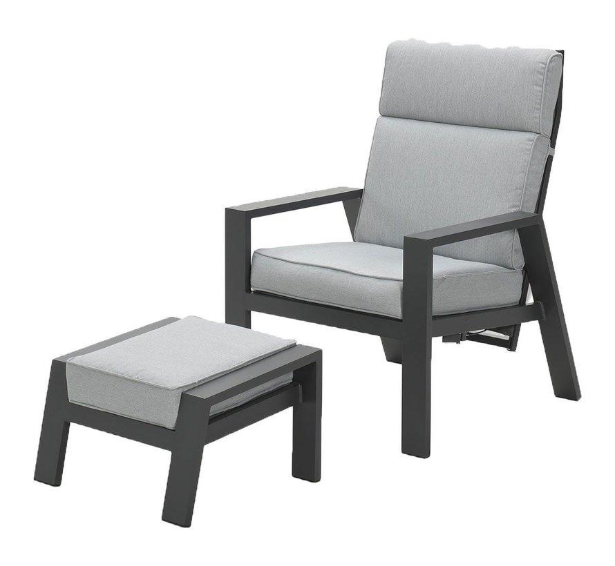 Max lounge balkonset 2 delig verstelbaar aluminium carbon black