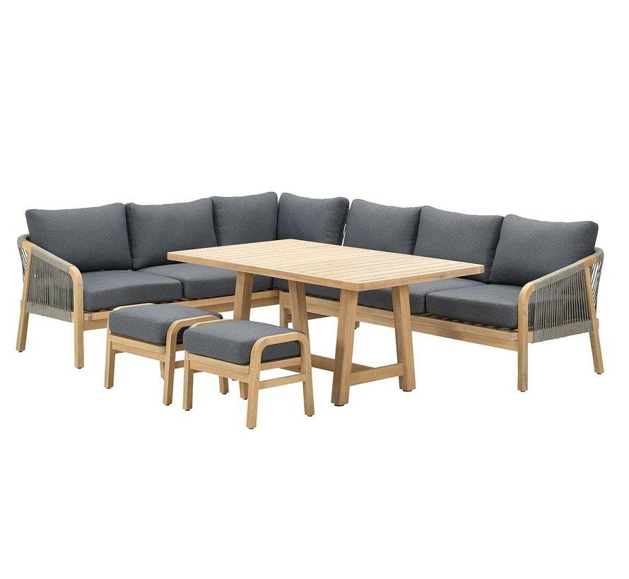 Santos hoek dining loungeset 5 delig links acacia