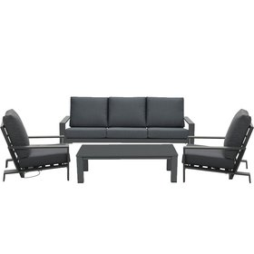 Garden Impressions Lincoln stoel bank loungeset 4 delig antraciet verstelbaar