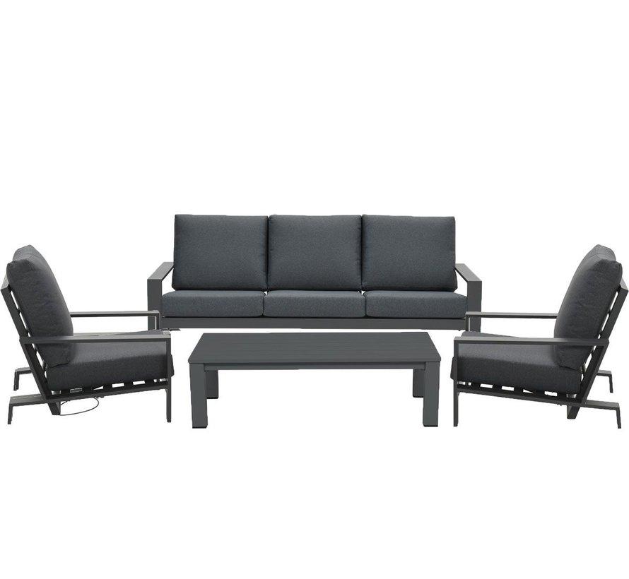 Lincoln stoel bank loungeset 4 delig antraciet verstelbaar