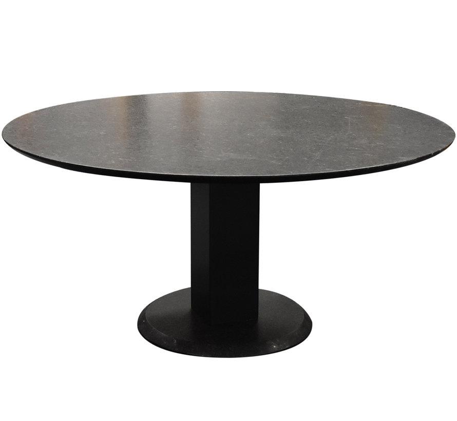 Dallas dining tuintafel 160 cm rond graniet pearl black satinado