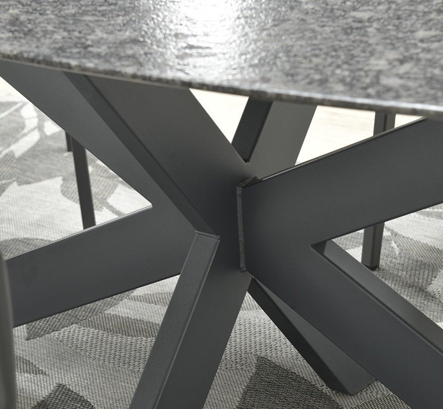 Berlijn dining tuintafel 220x110xH74 cm 2cm graniet ovaal pearl grey satinado