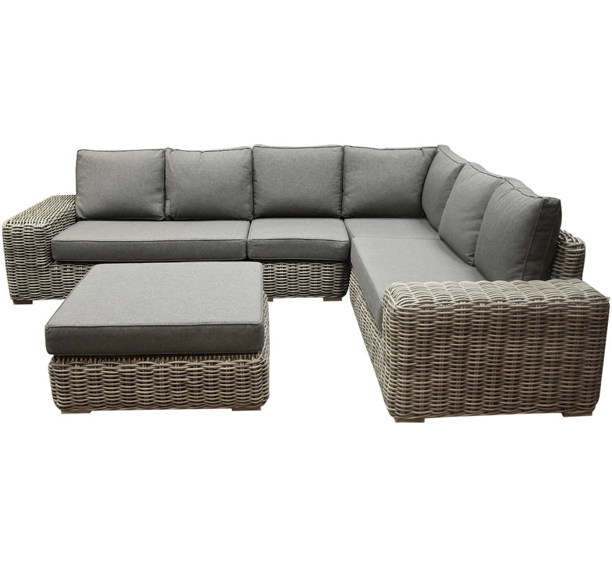 Queens hoek loungeset 5 delig grijs wicker