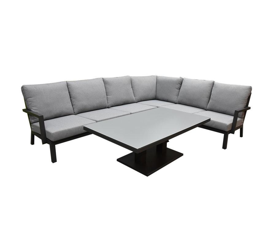 New York hoek loungeset 5 delig verstelbaar antraciet aluminium