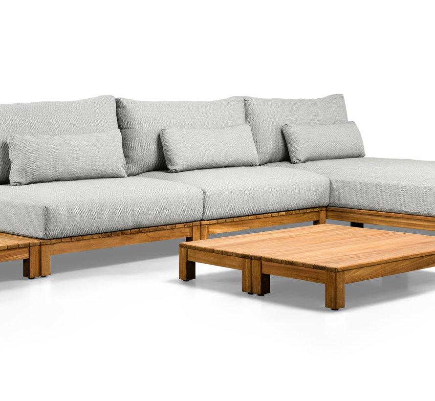 SUNS Portofino chaise longue loungeset 4 delig soft grey mixed weave