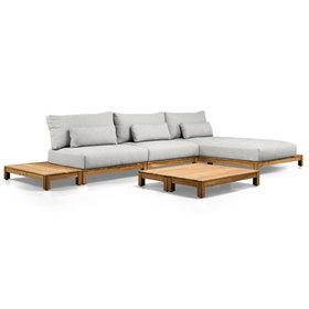 SUNS SUNS Portofino chaise longue loungeset 4 delig soft grey mixed weave
