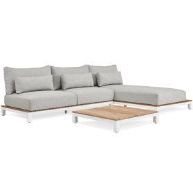 SUNS SUNS Evora chaise longue loungeset 3 delig soft grey mixed weave/matt white