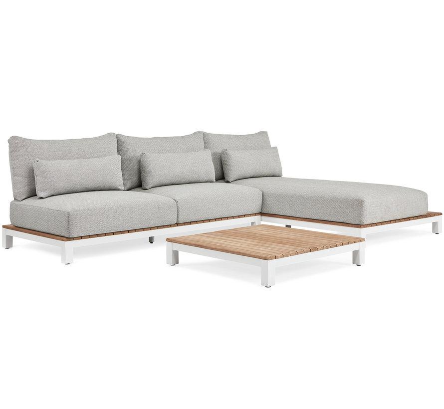 SUNS Evora chaise longue loungeset 3 delig soft grey mixed weave/matt white