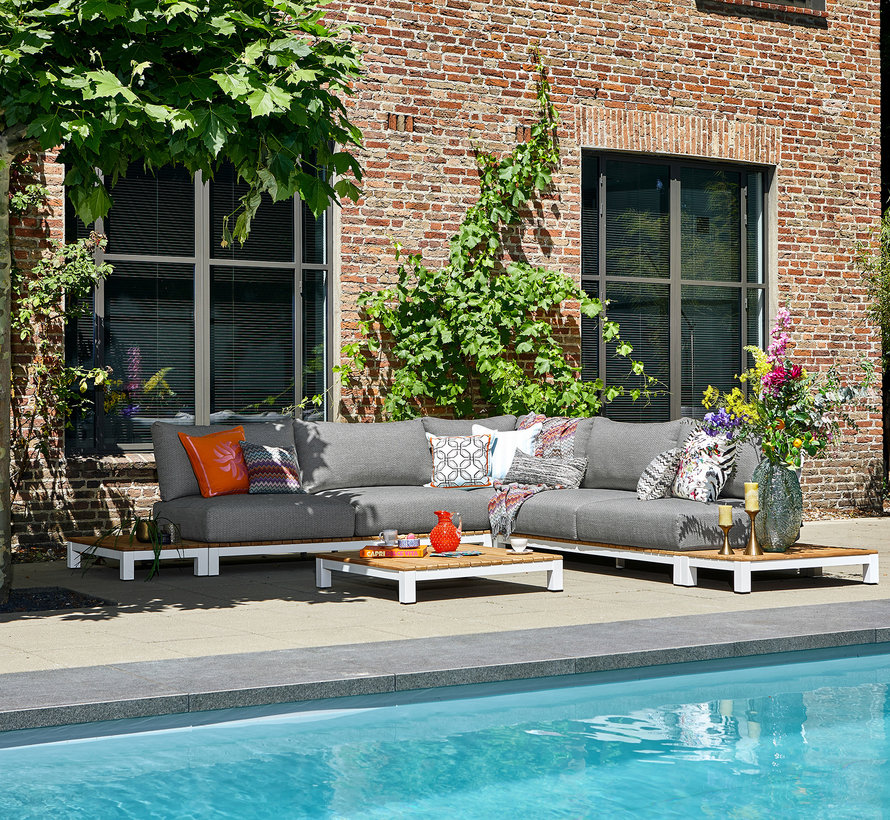 SUNS Evora hoek loungeset 6 delig soft mixed weave / matt white
