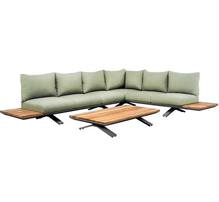 SUNS Stockholm hoek loungeset 3 delig soft green mixed weave / matt royal grey