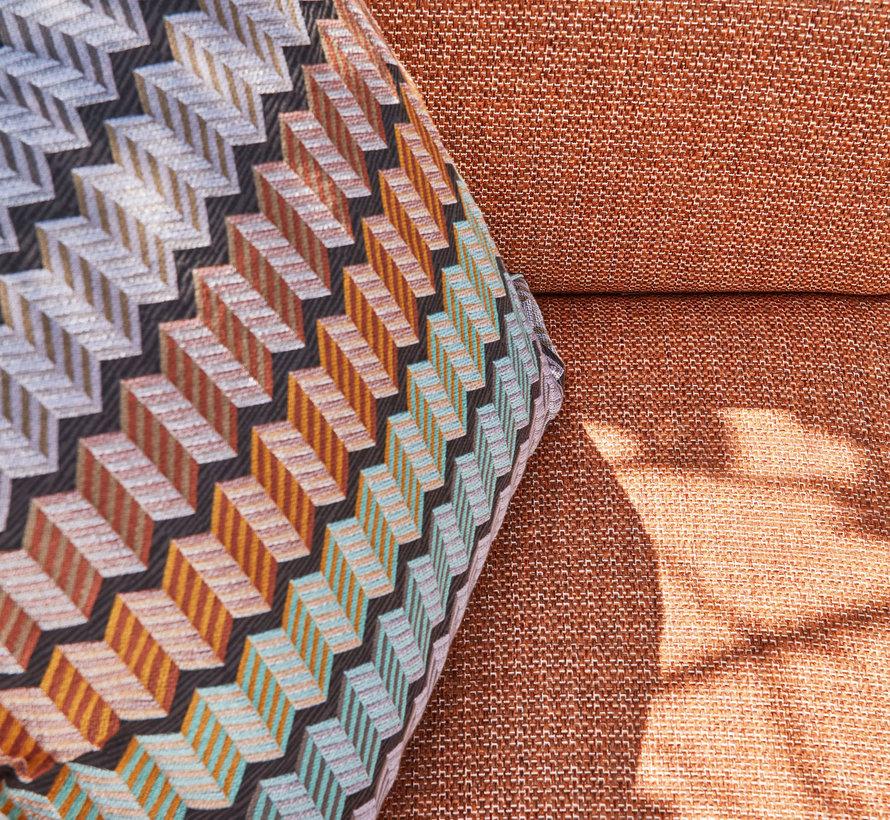 SUNS Stockholm hoek loungeset 3 delig terra coral mixed weave / matt royal grey