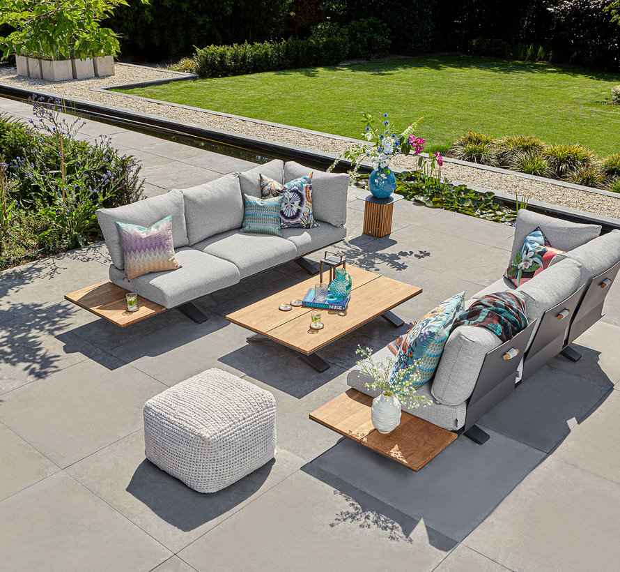 SUNS Stockholm sofa loungeset 3 delig light anthracite mixed weave / matt royal grey
