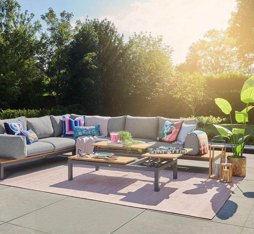 SUNS Memphis hoek loungeset groot 6 delig light anthracite mixed weave  / matt royal grey