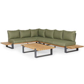 SUNS SUNS Nardo hoek loungeset 3 delig groot soft green mixed weave / matt royal grey