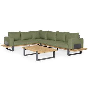SUNS SUNS Nardo hoek loungeset 5 delig groot soft green mixed weave / matt royal grey