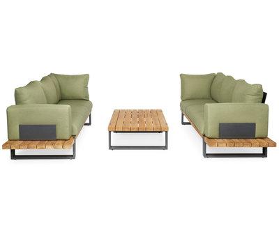 SUNS SUNS Nardo sofa loungeset 5 delig soft green mixed weave / matt royal grey