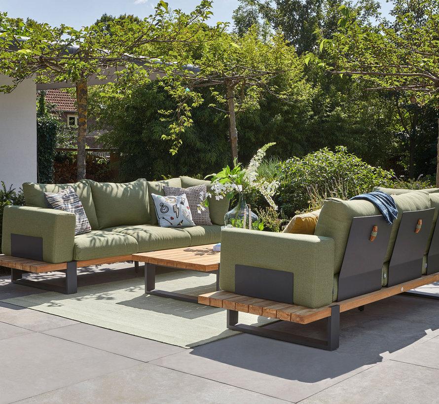 SUNS Nardo sofa loungeset 5 delig soft green mixed weave / matt royal grey