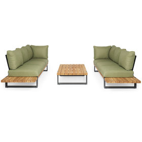 SUNS SUNS Nardo sofa loungeset 3 delig soft green mixed weave / matt royal grey
