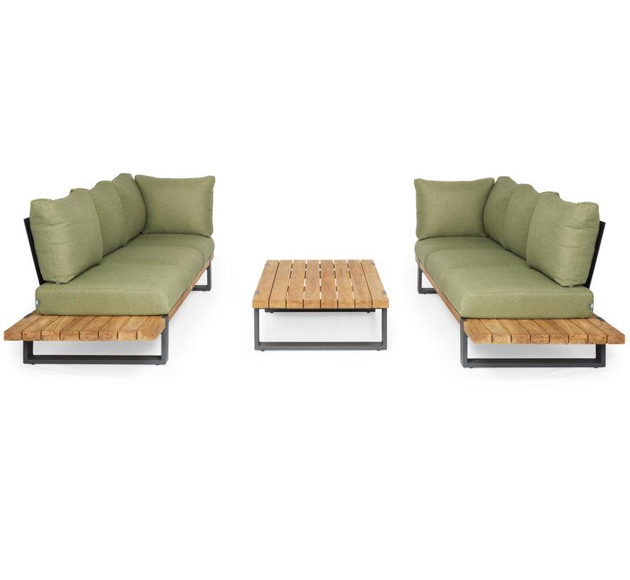 SUNS Nardo sofa loungeset 3 delig soft green mixed weave / matt royal grey