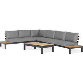 SUNS SUNS Vita hoek loungeset 5 delig wased grey / matt royal grey / naturel teak
