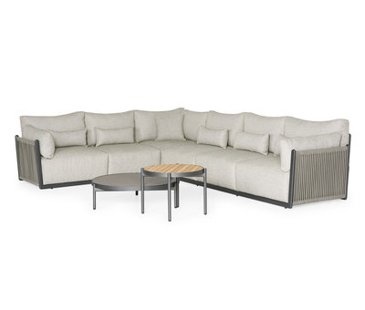 SUNS SUNS Sorrento hoek loungeset links 4 delig matt royal grey / soft grey mixed weave