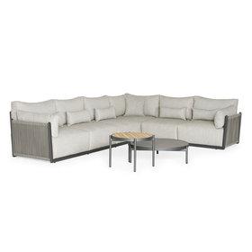 SUNS SUNS Sorrento hoek loungeset rechts 4 delig matt royal grey / soft grey mixed weave