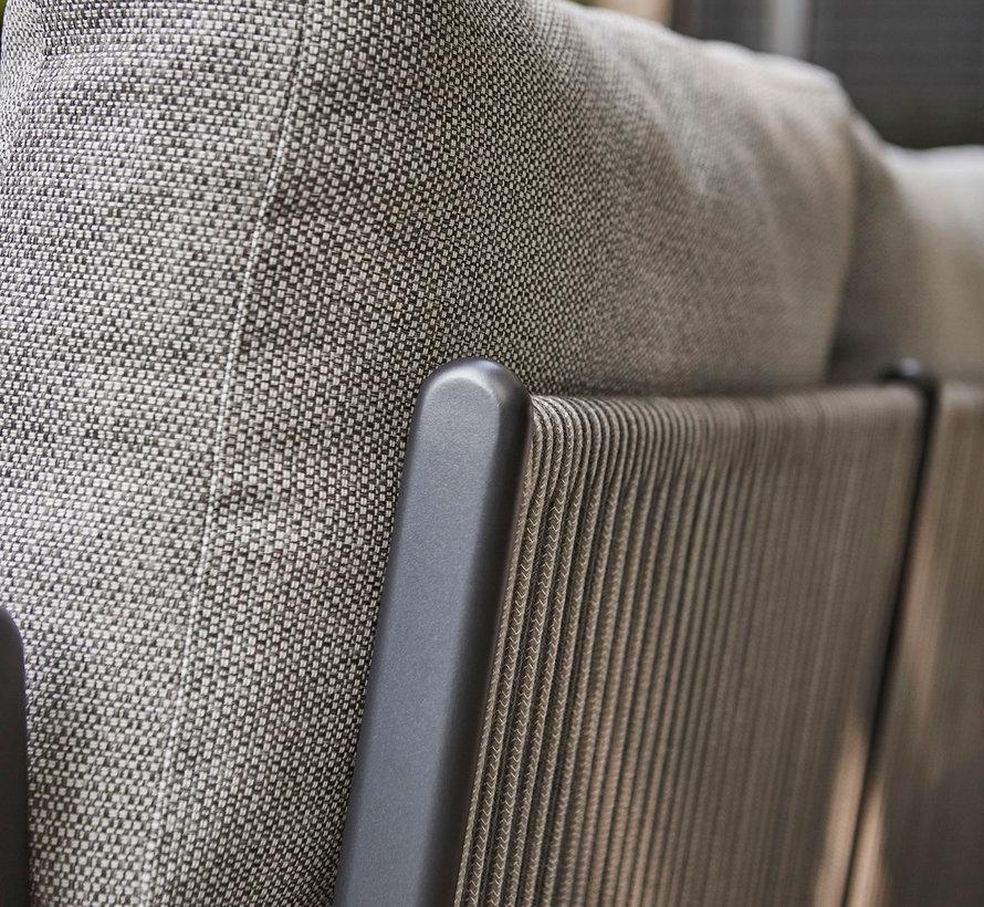 SUNS Sorrento hoek loungeset rechts 4 delig matt royal grey / soft grey mixed weave