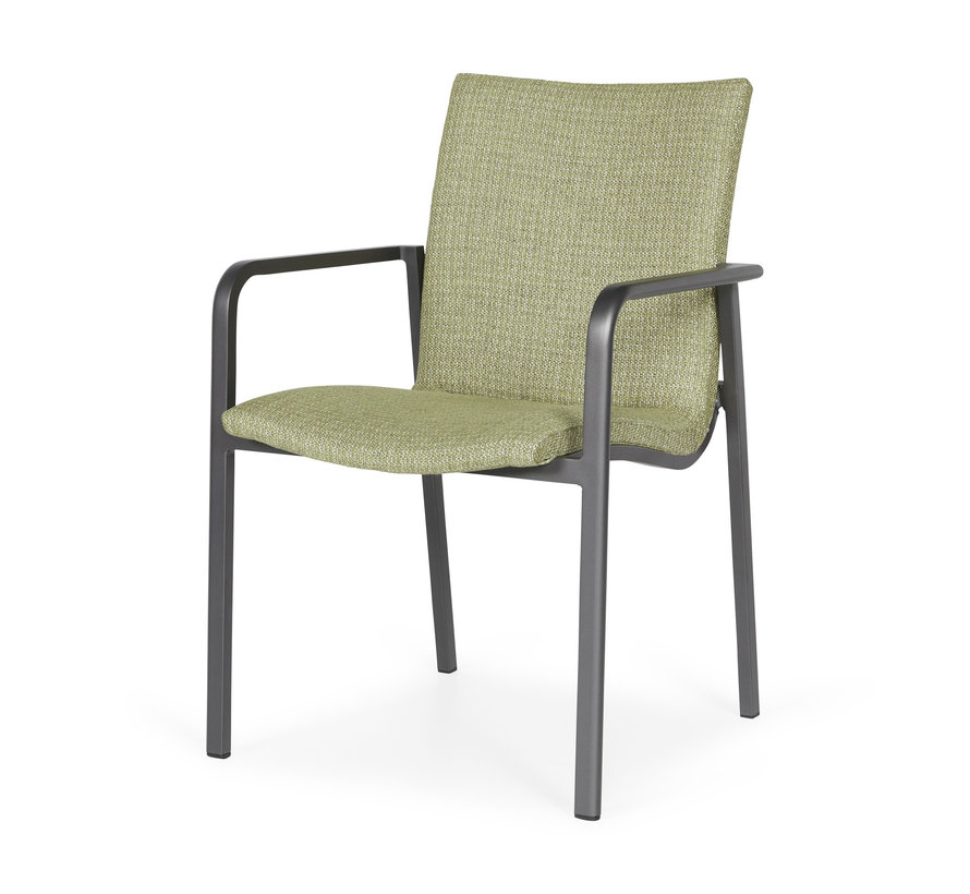 SUNS Anzio dining chair matt royal grey/forest green mixed weave