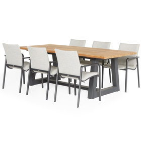 SUNS SUNS Anzio Ovada dining tuinset 220x100xH77 cm 7 delig  matt royal grey/soft grey mixed weave