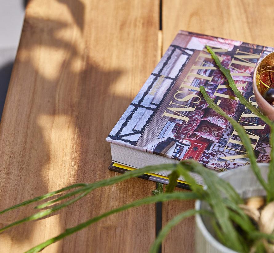 SUNS Anzio Ovada dining tuinset 220x100xH77 cm 7 delig  matt royal grey/soft grey mixed weave