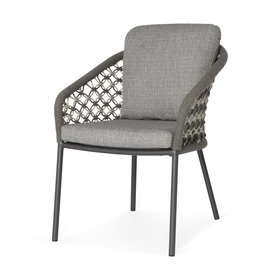 SUNS SUNS Nappa dining chair matt royal grey/mix macrame carbon grey/light anthracite