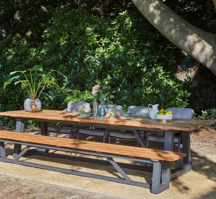 SUNS Nappa Ovada dining tuinset 340x100xH77 cm 6 delig matt royal grey