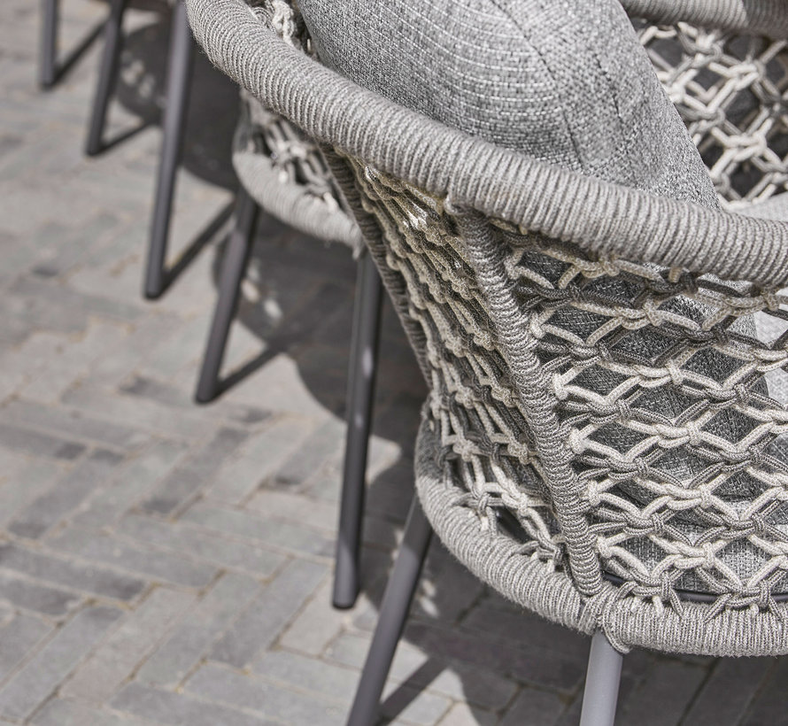 SUNS Nappa dining chair matt royal grey/mix macrame carbon grey/light anthracite