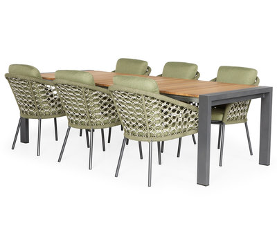 SUNS SUNS Nappa Rialto dining tuinset 212,5-269x100xH75 cm 7 delig teak /  forest green
