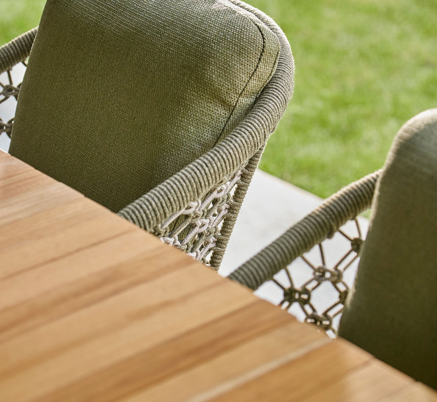 SUNS Nappa Rialto dining tuinset 212,5-269x100xH75 cm 7 delig teak /  forest green