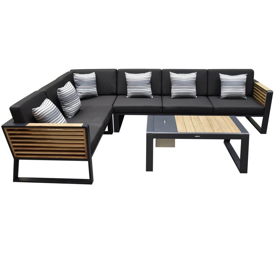 New-York hoek loungeset 5-delig zwart aluminium teak
