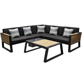 Higold New-York hoek loungeset 4-delig zwart aluminium teak