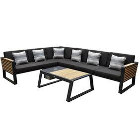 Higold New-York hoek loungeset 5-delig zwart aluminium teak