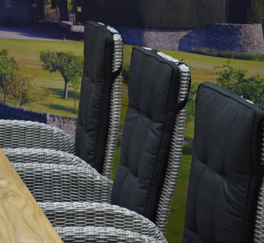 Menorca Geneva teak dining tuinset 240x100xH77 cm verstelbaar wit grijs