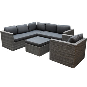AVH-Collectie Sahara hoek loungeset 4 delig antraciet wicker