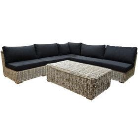 AVH-Collectie Nissah modulair hoek loungeset 6 delig naturel rotan