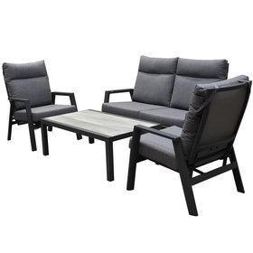 AVH-Collectie Vegas verstelbare stoel bank loungeset 4-delig antraciet aluminium