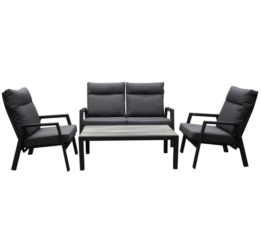 Vegas verstelbare stoel bank loungeset 4-delig antraciet aluminium